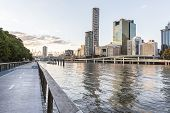 Brisbane cityscape from Southbank riverwalk