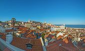 panoramic view of lisbon old town in Portugal, Europe, with tejo river on the background