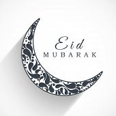 Beautiful floral decorated crescent moon in white and black colour for the occasion of Muslim commun