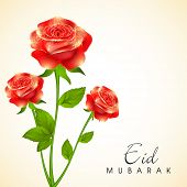 Beautiful red roses decorated greeting card for the occasion of Muslim community festival Eid Mubara