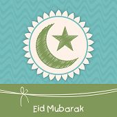 Muslim community festival greeting card design with green crescent moon and star for the festival of