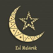 Beautiful crescent moon with star on grey background for the occasion of Muslim community festival E