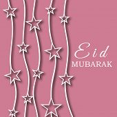 Beautiful pink greeting card design decorated with stars for the occasion of Muslim community festiv