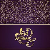 Beautiful golden floral design decorated greeting card on purple background for the occasion of Musl
