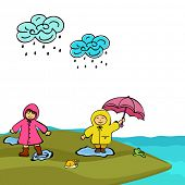 Monsoon season concept with cute kids in raincoat playing at seaside.