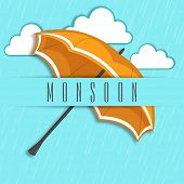 Stylish background for Monsoon Season with open brown umbrella on heavy raining blue background.