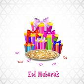 Muslim community festival Eid Mubarak celebrations background with colorful gift boxes and sweets on grey background.