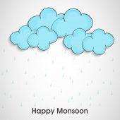 Stylish blue clouds with water drops on grey background, concept for Happy Monsoon.