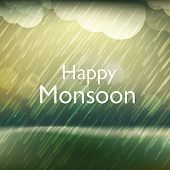 Heavy raining, Happy Monsoon Season background.