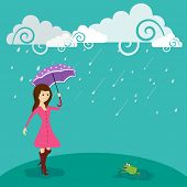 Stylish young girl holding purple umbrella on water drops falling from floral decorated clouds background.