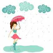 Stylish young girl holding pink umbrella on water drops falling from floral decorated clouds backgro