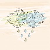 Colorful raindrops coming from floral decorated clouds on beige background.