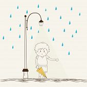 Sketch of a little boy holding an umbrella under streetlights on blue raindrops decorated beige back