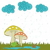 Beautiful monsoon season background with cute little frog sitting under mushroom plant and water drops falling from blue clouds.