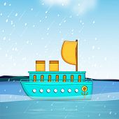 Stylish blue ship in the blue ocean, beautiful monsoon season background.