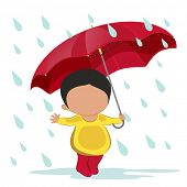 Cute little boy holding an umbrella enjoying rains.
