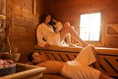 Love couples  in bathrobe, enjoying the sauna