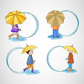 Stylish circle frames with cute little kids holding umbrellas and black space for your text.