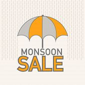 Open colorful umbrella with stylish text Monsoon sale on beige background.
