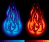Red and blue flames with the scale of used colors on a black background