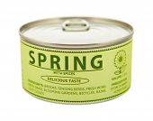 Concept Of Seasons. Spring. Tin Can.