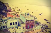 Retro View Of Varanasi At Ganga River, India.