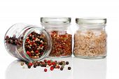 Glass Jar With Colored Peppers Mix, Red Chili Pepper And Salt,