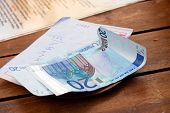 Dining Check And Euro Banknotes