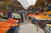 AMMAN, JORDAN - MARCH 17, 2014: People on the farmer's market in the center of Amman. This market is