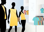Window In Fashion Dress Market With Black Mannequins In Yellow Clothes, Vector