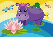 Colorful Illustration With A Hippo