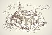 simple village house vector