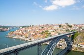 stock photo of dom  - Dom Luiz bridge in Porto Cityscape Portugal - JPG