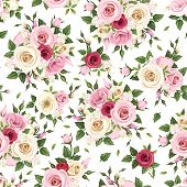 Seamless pattern with red, pink and white roses. Vector illustration.
