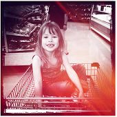 Little Girl in Shopping cart at store - instagram effect