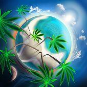 Cannabis Conceptual Idyllic Planet