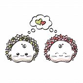 love hedgehogs kawaii style on a white background.