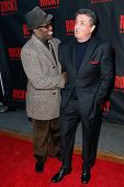 NEW YORK-MAR 13: Actors Wesley Snipes (L) and Sylvester Stallone attend the 'Rocky' Broadway opening