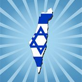 Israel map flag on blue sunburst vector illustration