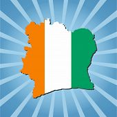 Ivory Coast map flag on blue sunburst vector illustration