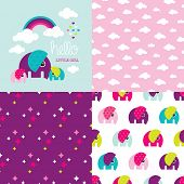 Seamless baby girl elephant illustration pattern collection with rainbow clouds cover invitation des