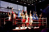 NEW YORK-MAR 13: The cast of 'Rocky' take a curtain call on Broadway opening night at the Winter Gar