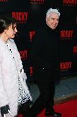 NEW YORK-MAR 13: Vogue editor Sally Singer (L) and musician David Byrne attend the 'Rocky' Broadway