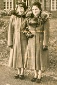 GERMANY, CIRCA FORTIES - Vintage photo of two elegant women outdoor