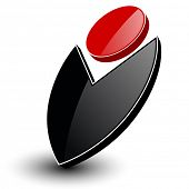 Abstract symbol 3D black and red, vector icon.