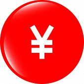 Yen Jpy Sign Icon. Web App Button. Shiny Button