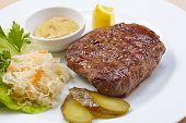 steak with cabbage salad
