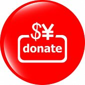 Donate Sign Icon. Dollar Usd And Yen Symbol