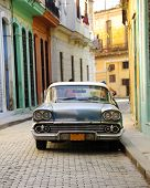 HAVANA, CUBA - OCT 5, 2008: Front view of vintage classic american car Chevorolet commonly used as p
