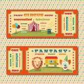 pic of circus clown  - Two vintage circus  fairy show tent tickets templates with clown and exotic animals vector illustration - JPG